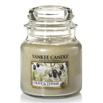Yankee Candle - Olive et Thym - Moyenne Jarre - beige