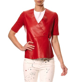 Top en cuir - rouge