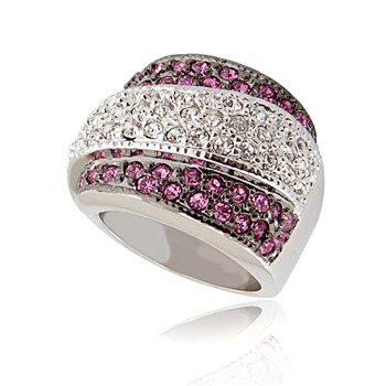 Bague à dames - La Lucienne - Ring mit Zirkonen - rosa