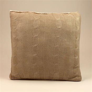 Coussin tricot/sherpa - blanc