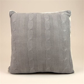 Dodo - Coussin tricot/sherpa - gris