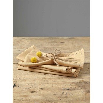Lot de 4 serviettes de table en lin mélangé - jaune