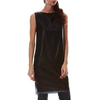 Top long en jean enduit - noir