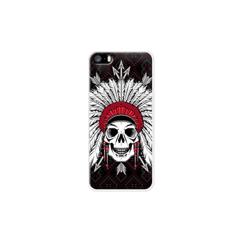 Geometric Indian Skull - Coque pour iPhone 5/5S/SE - blanc