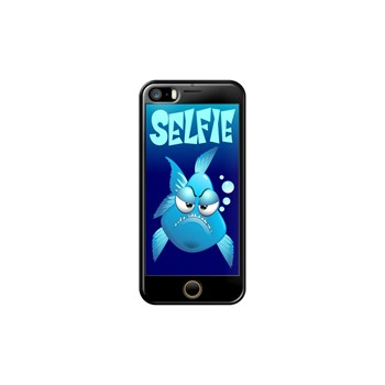Selfie Grumpy Fish Cartoon - Coque pour iPhone 5/5S/SE - noir