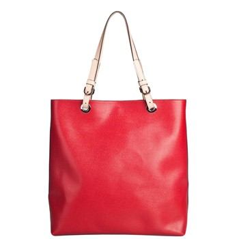 Salma - Sac shopping en cuir - rouge