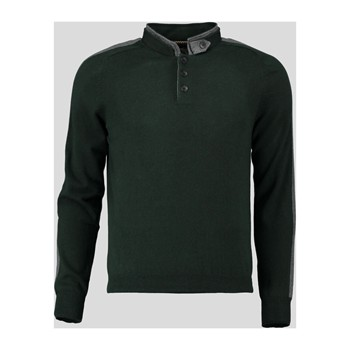 Pull col montant boutonné - vert