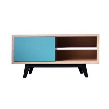 Buffet TV scandinave en chêne massif - multicolore