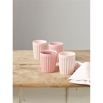 Lot de 4 tasses origami en céramique - rose
