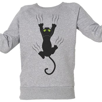 Chat glisse - Sweat Bio enfant - gris chine