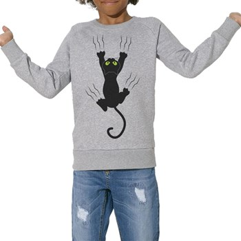 ArteCita - Chat glisse - Sweat Bio enfant - gris chine