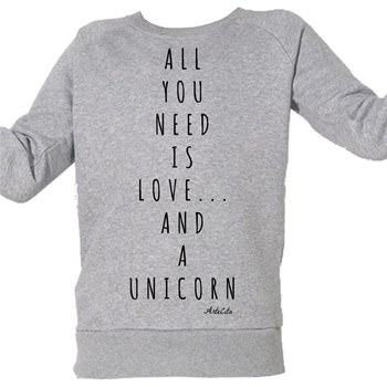 Love and a unicorn - Sweat Bio enfant - gris chine