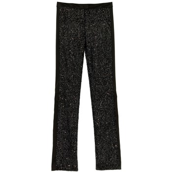Pantalon de smoking noir à paillettes - noir