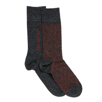 All Over Gris - Lot de 2 paires de chaussettes - rouge