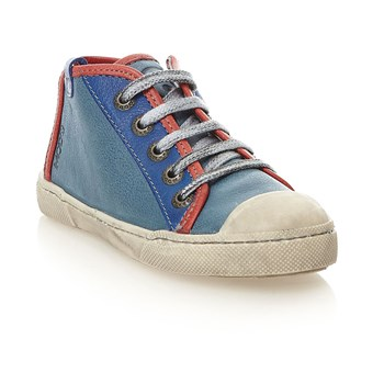 Baskets montantes en cuir - denim bleu