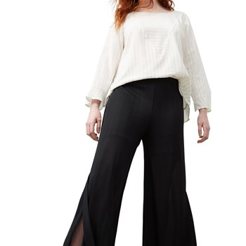 Pantalon semi-transparent fendu - noir