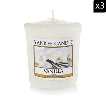 Yankee Candle - Vanille - Lot de 3 votives parfumées - blanc