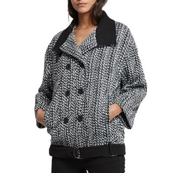Morgan - Manteau court boule - gris