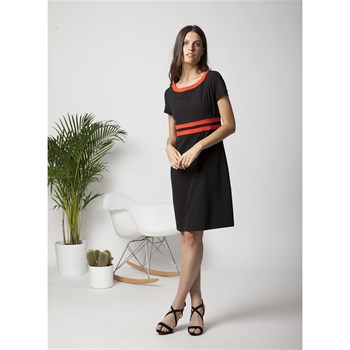 Robe rayures bicolores - rouge