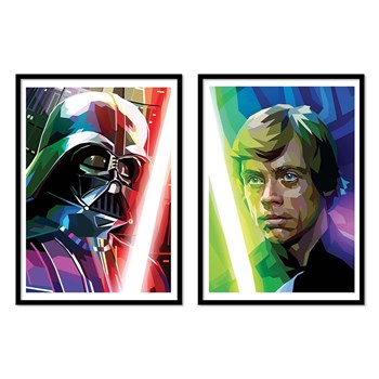 Wall Editions - Vador Luke Skywalker - Lot de 2 affiches - multicolore