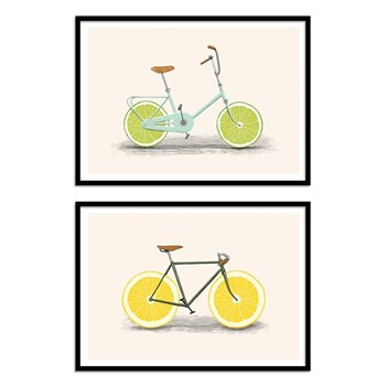 Wall Editions - Vélos et citrons - Lot de 2 affiches - multicolore
