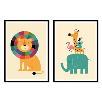 Wall Editions - Bébé animaux jungle - Lot de 2 affiches - multicolore