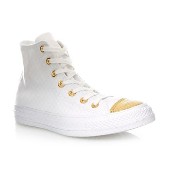 CHUCK TAYLOR ALL STAR HI WHITE/GOLD/WHITE - Baskets montantes - blanc