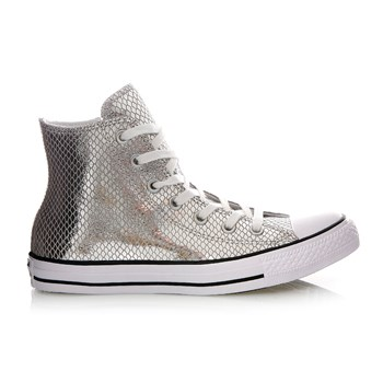 CHUCK TAYLOR ALL STAR HI SILVER/BLACK/WHITE - Baskets montantes en cuir - argenté