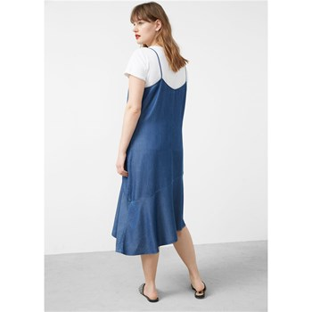 Robe denim volants - bleu
