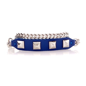 Bracelet double rangs - bleu