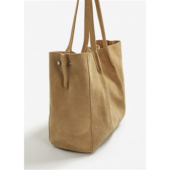 Sac shopping en cuir - beige