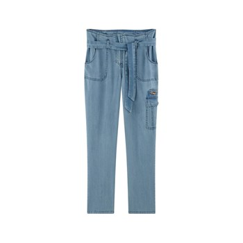 Pantalon paper bag - denim bleu
