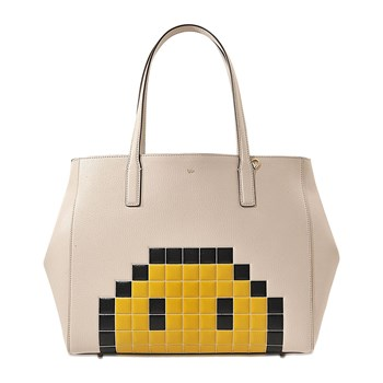 Anya Hindmarch - Ebury Pixel Smiley - Sac à main en cuir - ecru