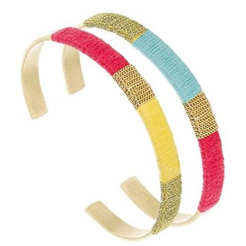 Lucien - Lot de 2 bracelets jonc en plaqué or - multicolore