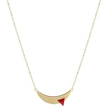 Collier lune - rouge