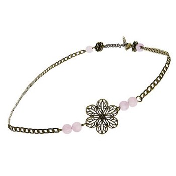 Art Nouveau - Headband orné d'un quartz - rose