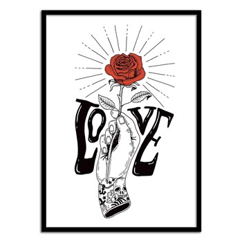 Wall Editions - Rose and Love Tattoo - Affiche art 50x70 cm