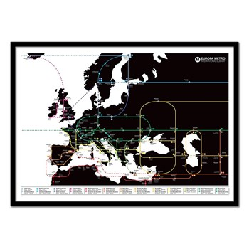 Wall Editions - Europa Subway Metro Map - Affiche art 50 x 70 cm - noir