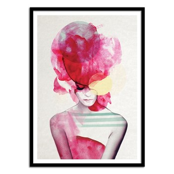 Wall Editions - Bright Pink Girl Portrait - Affiche art 50 x 70 cm