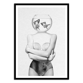 Wall Editions - Girl and Fishes Portrait - Affiche art 50 x 70 cm