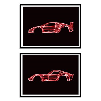 Wall Editions - Ferrari F40 and 250 GTO Design - Lot de 2 Affiches 30 x 40 cm - noir