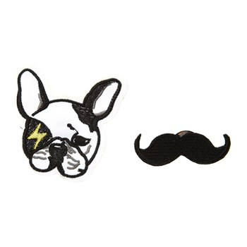 Amelie - Lot de 2 broches patch - noir