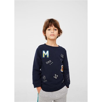 Sweat-shirt motif en relief - bleu marine