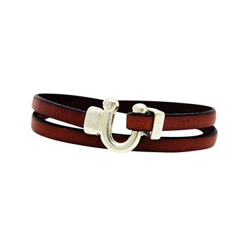 Bracelet double tour en cuir - marron