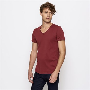 T-shirt col V - rouge