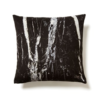 Coussin imitation Marbre Nero Marquina - noir