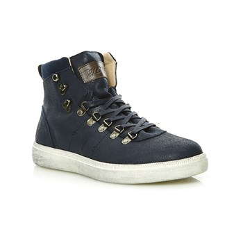 High Sneakers aus Leder - marineblau