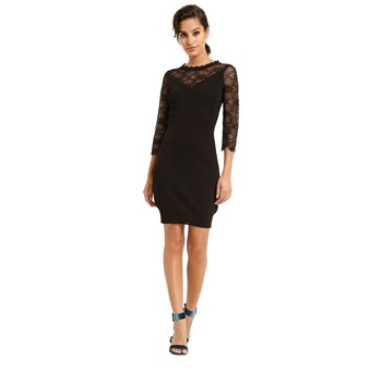 Robe tricot manches 3/4 - noir
