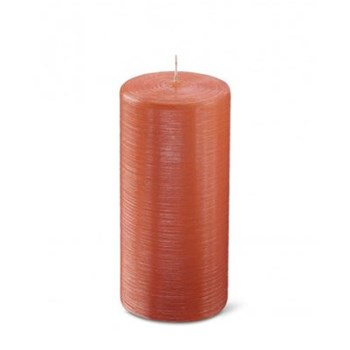 Bougie cylindrique striée - orange