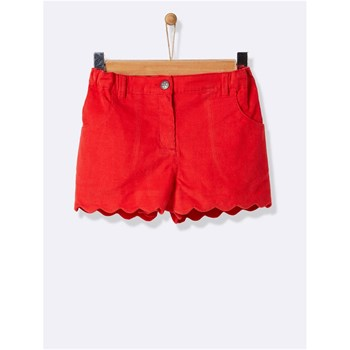 Short coquille velours - rouge